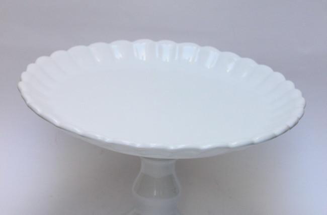 Prato para Bolo com pé pomba Branco – SC