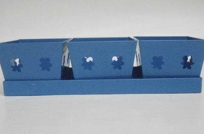 Trio mini Cachepô com bandeja Azul