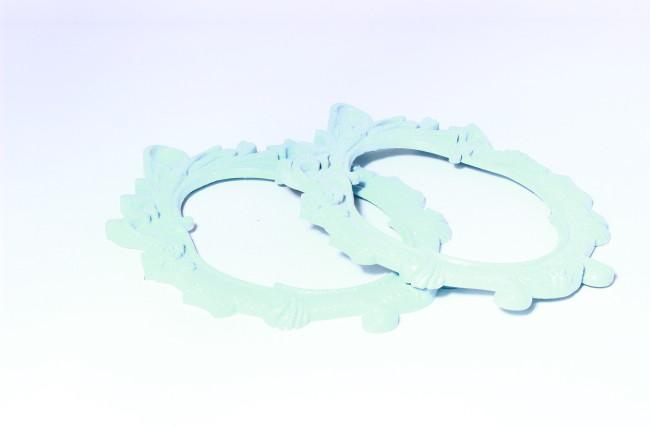 Moldura Glitter  Azul bebê