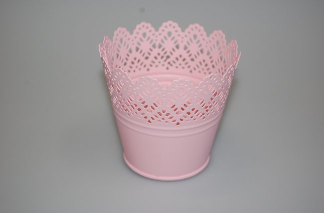 Cachepot metálico Rosa