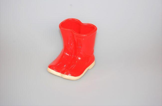 Botinha vaso louça Vermelha